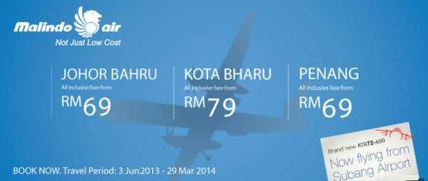 Malindo Air Promotion to Penang, Johor Bahru, Kota Bharu