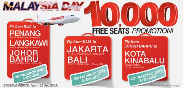 Malindo Air Free Seats Promotion 2013