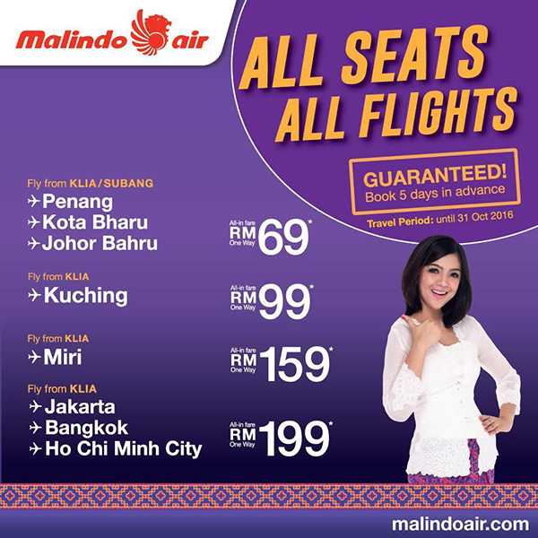 Malindo Air All Seats All Flights Promotion